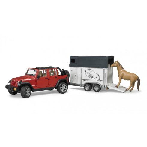 Bruder 02926 Jeep Wrangler Unlimited Rubicon lószállitóval és lóval