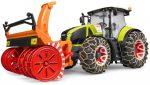 Bruder 03017 Claas Axion 950 traktor hólánccal és hómaróval