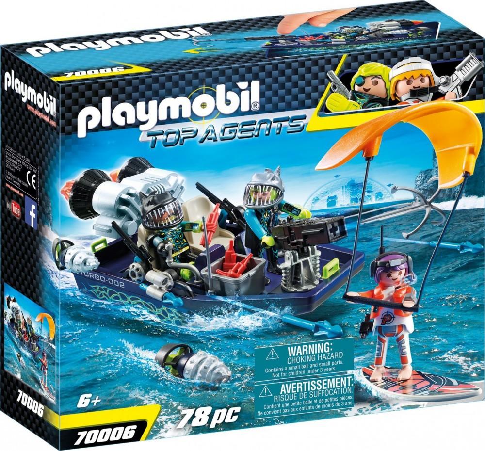 playmobil top agents 70006 shark csapat motorcsónakja